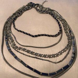 WHBM silver and blue layered necklace